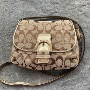 COACH Signature & Gold Leather Mini Crossbody Bag